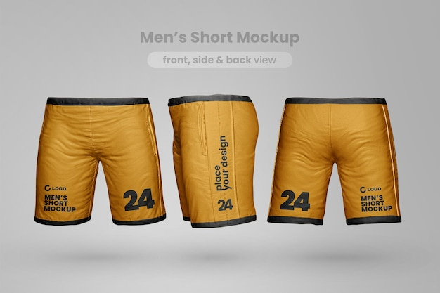 Realistic short mockup front side and back view