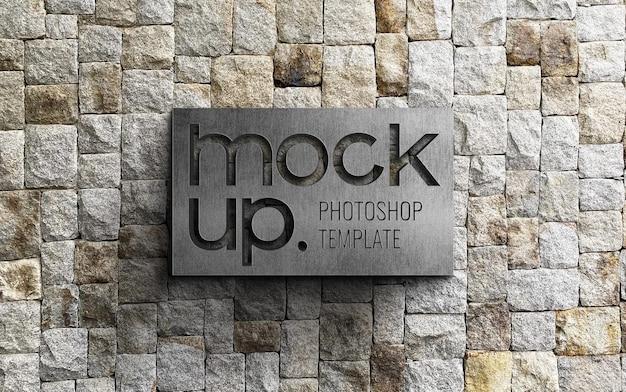 Realistic sign logo mockup on brick rock wall