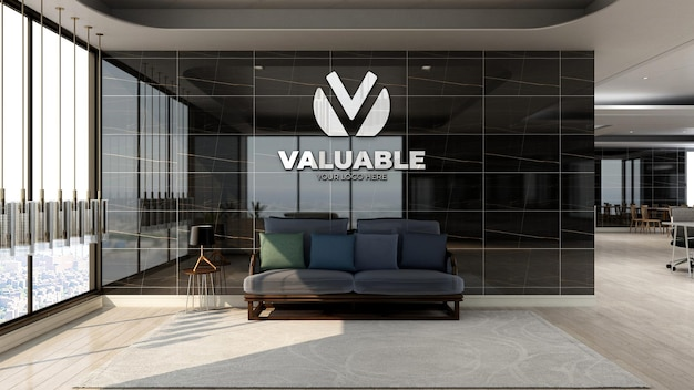 Realistic silver company logo mockup in office lobby waiting area with luxury design interior