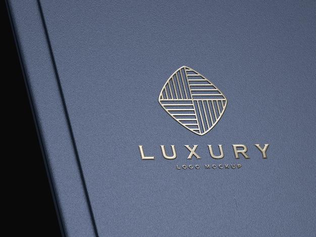 Realistic silver embossed luxury logo mockup
