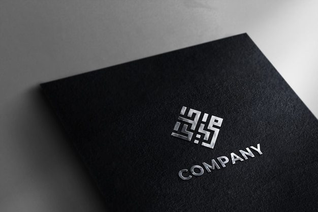 Realistic silver logo mockup black paper texture background
