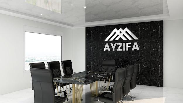 Реалистичный серебряный макет логотипа в офисе для переговоров