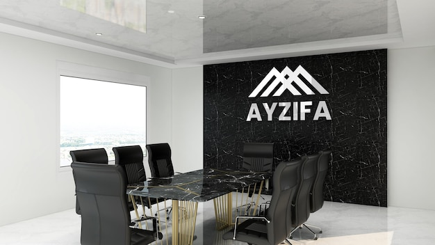 Realistic silver logo mockup in meeting room office