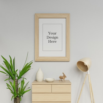 Realistic single a1 poster frame mockup design template hanging portrait in scandinavia interior