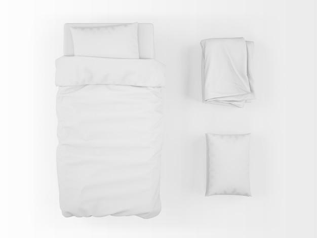 Реалистичная односпальная кровать, пуховое одеяло и макет подушки на вид сверху