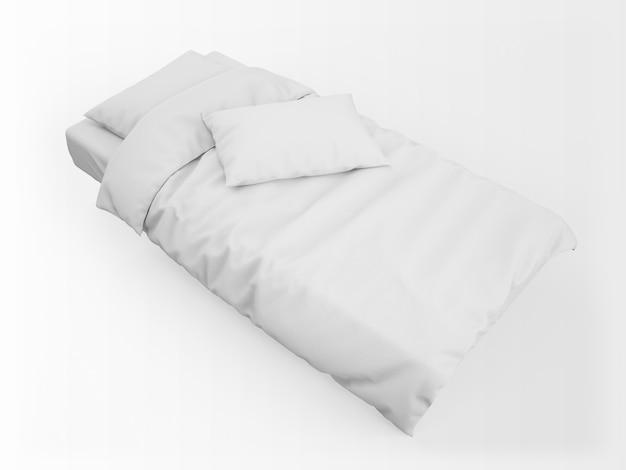 Реалистичная односпальная кровать, пуховое одеяло и макет подушки