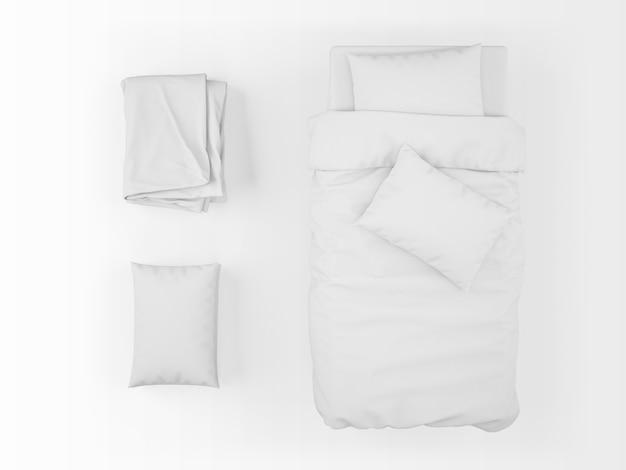 Realistico letto singolo, piumone e cuscino mockup in vista dall'alto