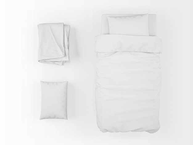 Realistic single bed, duvet and pillow mockup on top view