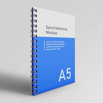 Realistic single corporate identity hardcover spiral binder notebook mockup design template in front perspective view