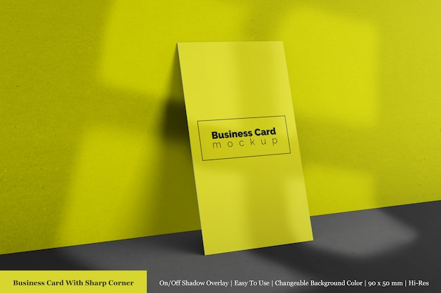 Realistic single vertical company textured business card mockups psd template