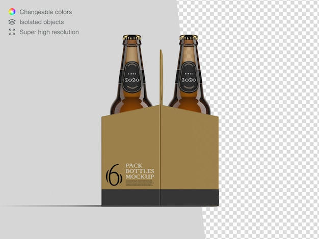 Realistic six pack beer bottle mockup template