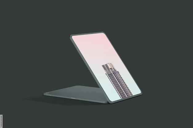 Реалистичный макет смарт-планшета с темным светом Premium Psd