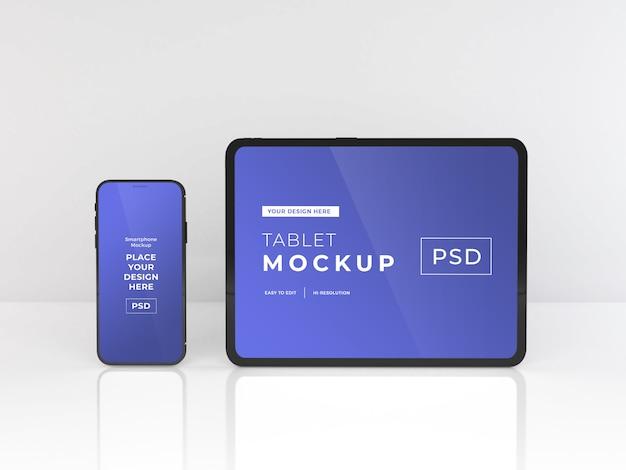 現実的なスマートフォンとタブレットのモックアップテンプレート