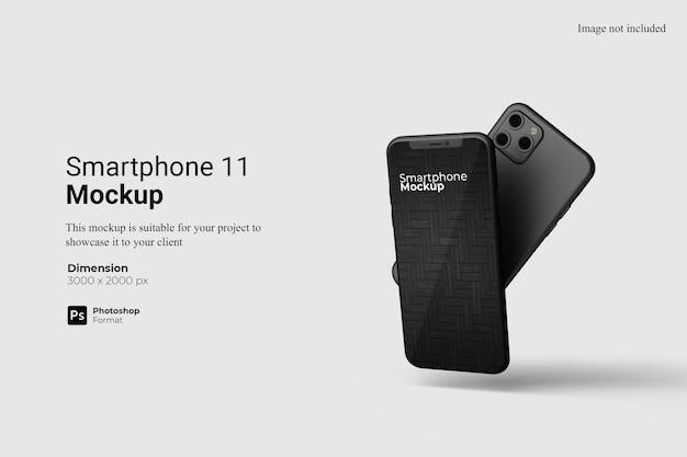 分離された現実的なスマートフォンのモックアップデザイン