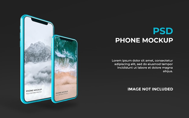 リアルなスマートフォンのモックアップデザイン