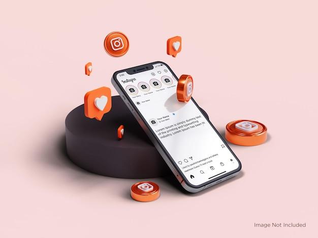 Реалистичный макет смартфона на главном экране instagram премиум psd