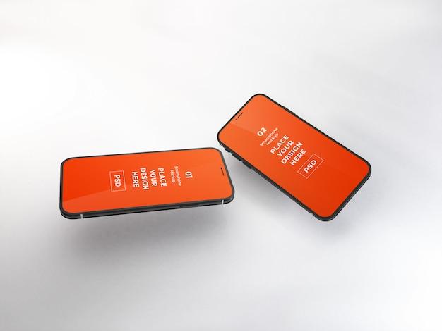 現実的なスマートフォンのモックアップテンプレート