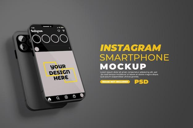 分離されたinstagramの現実的なスマートフォンのモックアップ