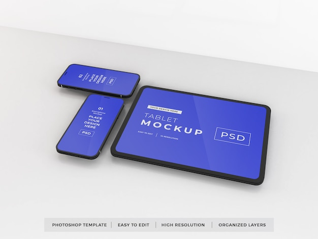 Realistic smartphone and tablet mockup template