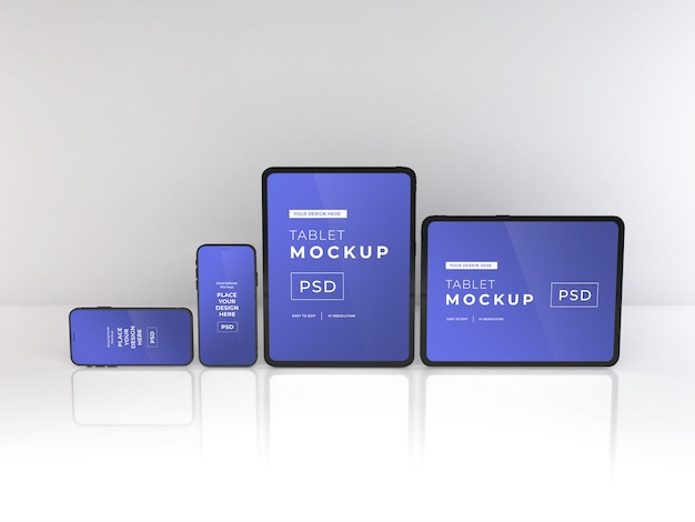 Realistic smartphone and tablet mockup