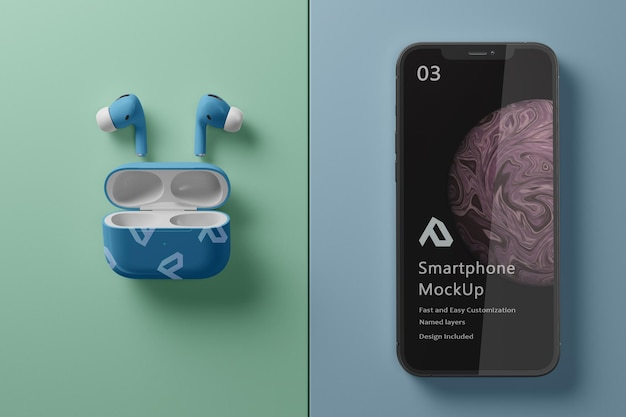 Realistic smartphone with air pods mockup