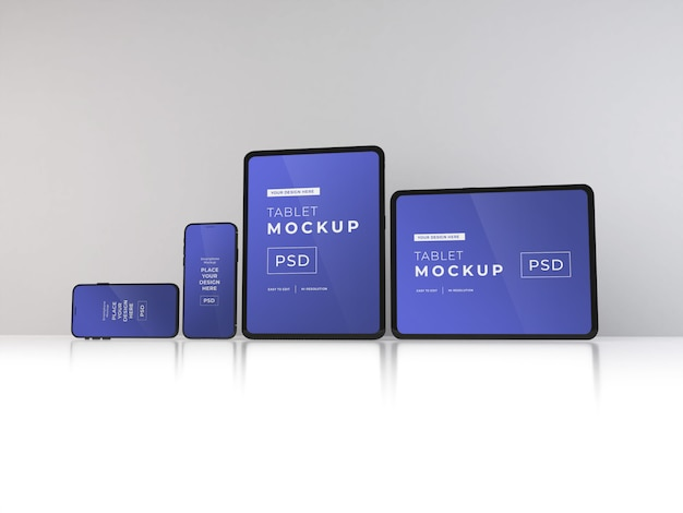 Realistic smartphones and tablets mockup