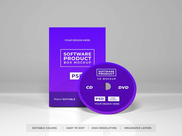 Realistic software box product mockup
