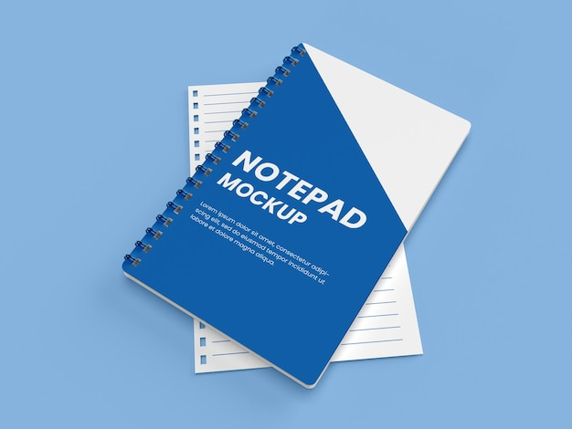 Realistic spiral binding hard cover notepad or notebook mockup