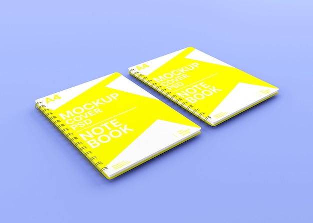 Realistic spiral hardcover notebook mockup