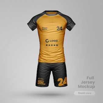 Realistic sportwear mockup with shorts and t shirt fullbody