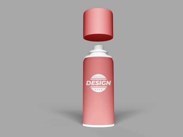 Realistic spray can mockup