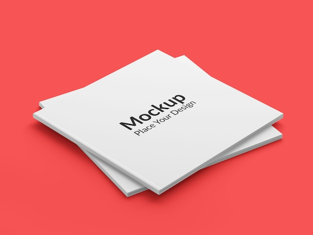 Realistic square brochure mockup on red background
