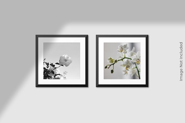 Realistic square frames mockup hanging on wall with shadow overlay