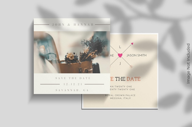 Realistic square invitation mockup with shadow overlay