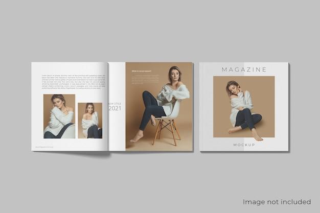 分離された現実的な正方形の雑誌のモックアップ