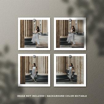 現実的な正方形の紙フレームの写真のモックアップ