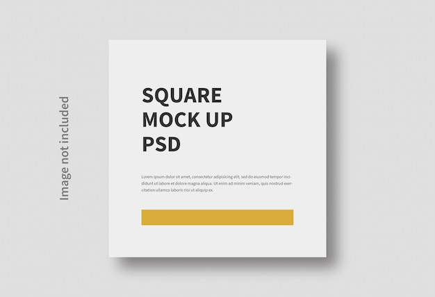 Realistic square size flat minimal mockup isolated
