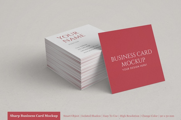 Realistic stack of clean corporate square business card mock up templates