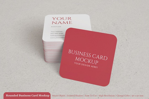 Realistic stack of rounded square business card mockup with textured paper