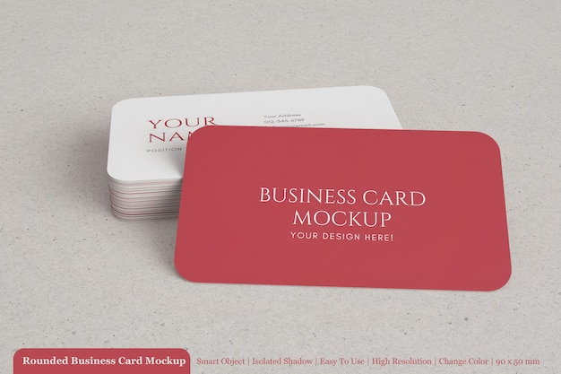Realistic stacked corporate textured business card with rounded corner mockup