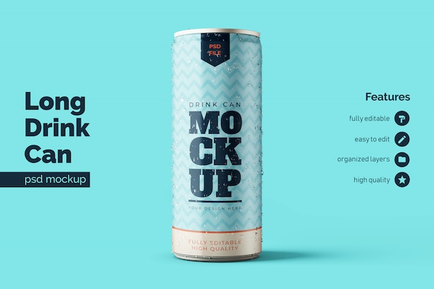 Realistic standing long aluminium steel drink can mockup premium template in front view