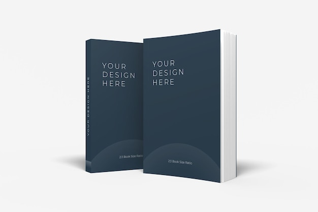 Realistic standing soft cover book mockup