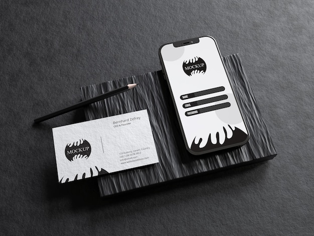 Realistic stationery mockup with mobile phone screen