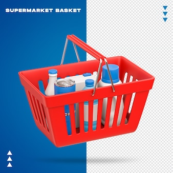 Реалистичная корзина супермаркета