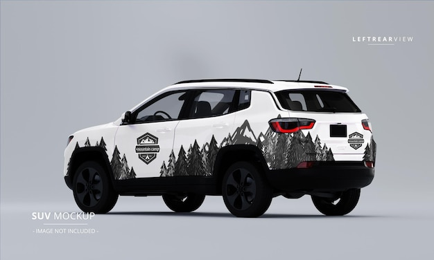 Realistic suv mock up from left rear view