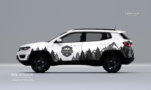 Realistic suv mock up from left view