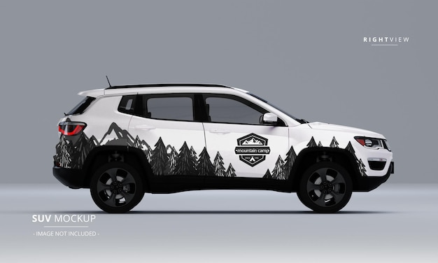 Realistic suv mock up from right view
