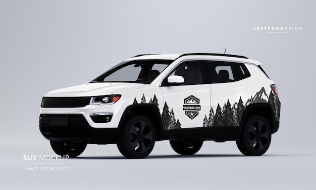 Realistic suv mockup from left front view