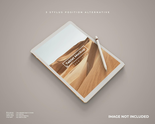 Realistic tablet mockup with stylus in vertical position looks left perspective view