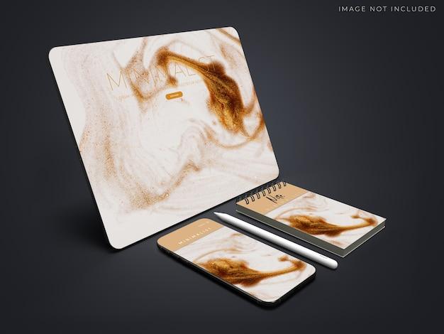 브랜딩 아이덴티티를위한 현실적인 태블릿, 전화 및 사무용품 모형